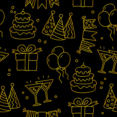 jewelry boxes: Seamless vector pattern of golden celebratory icons on a black background. Illustration