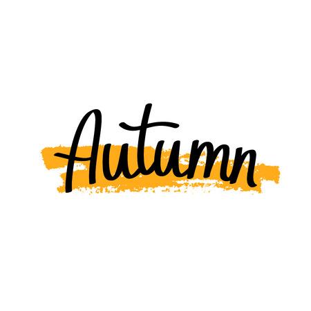 autumn background: Quote Autumn. Modern golden brush. Vector illustration on white background. Illustration