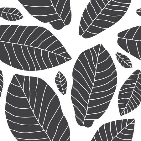 banana leaf: Seamless vector pattern of black banana leaf on a white background.