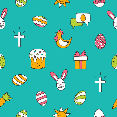 red cross red bird: Seamless vector pattern of colored Easter icons on blue background.
