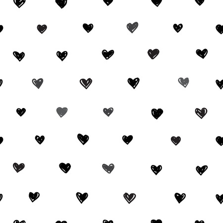 Seamless vector geometric pattern of black hearts on a white background.