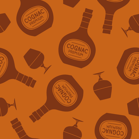 brandy: Seamless vector pattern of brandy bottles and glasses on a brown background.