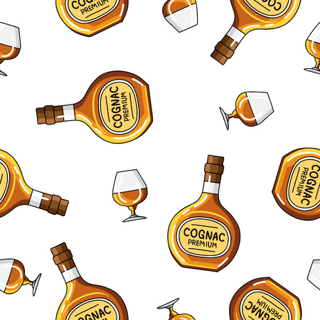 brandy: Seamless vector pattern of brandy bottles and glasses on a white background.
