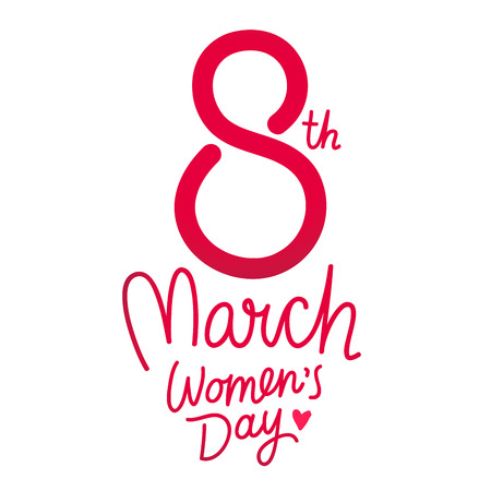 march 8: Great gift card for March 8. International Womens Day. Vector illustration on white background. Lettering.