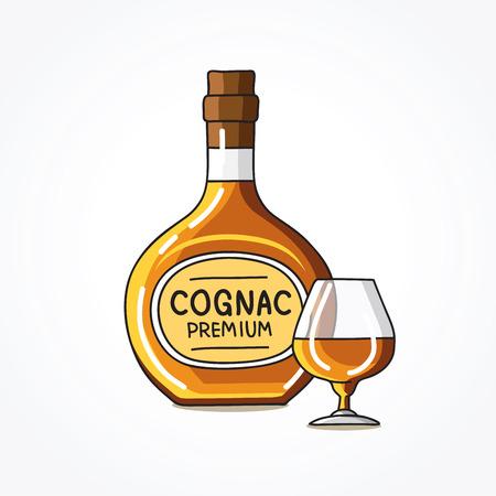 ボトルとコニャックのガラス。白の背景にベクトル イラスト。  イラスト・ベクター素材