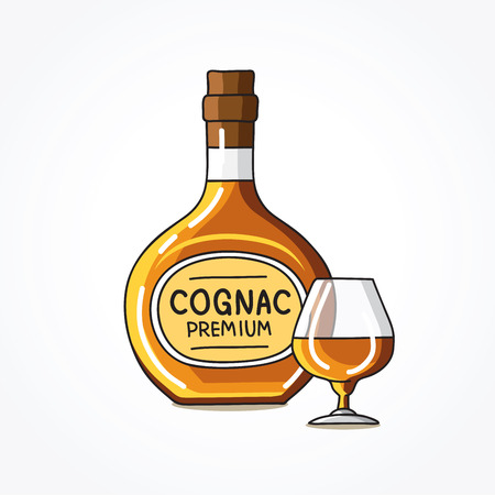 cognac: Bottle and a glass of cognac. Vector illustration on white background.