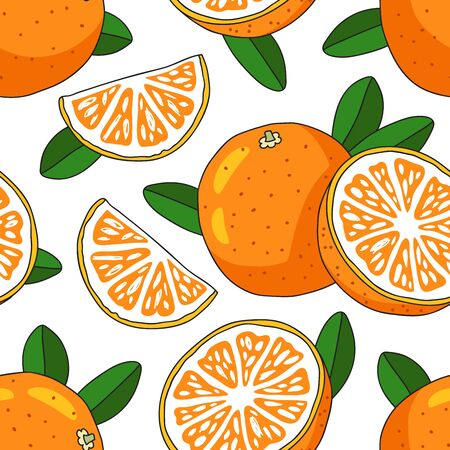 sap: Seamless vector pattern of oranges on a white background. Juicy summer fruit.