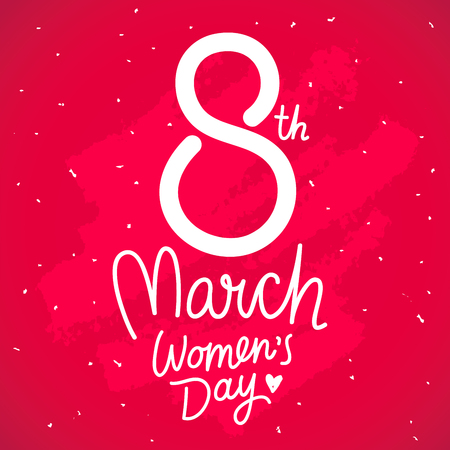 march 8: Great gift card for March 8. International Womens Day. Vector illustration on a red background. Lettering.