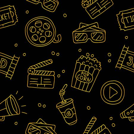 spectacle: Seamless vector pattern of golden cinematic icons on a black background.
