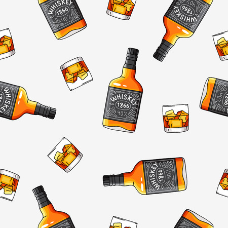 Seamless vector pattern of the bottles and glasses of strong alcohol Whiskey on a light gray background.