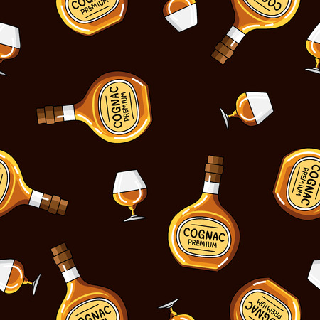 brandy: Seamless vector pattern of brandy bottles and glasses on a black background. Illustration