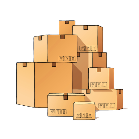 marked boxes: Pile of cardboard boxes marked. Vector illustration on white background. Illustration