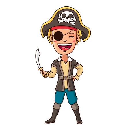sombrero pirata: Pequeño pirata. Niño en traje de pirata con la espada en la mano. Ilustración vectorial sobre fondo blanco.