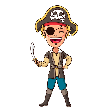 Little pirate. Kid in pirate costume with sword in hand. Vector illustration on white background.