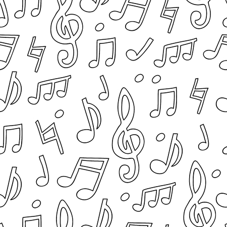 Seamless vector pattern of musical notes on a white background.