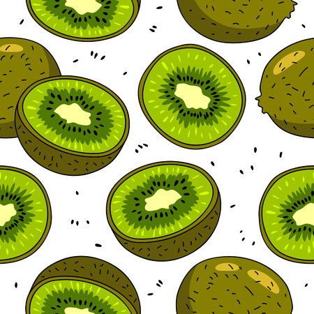 Seamless vector pattern of kiwi fruit on a white background.