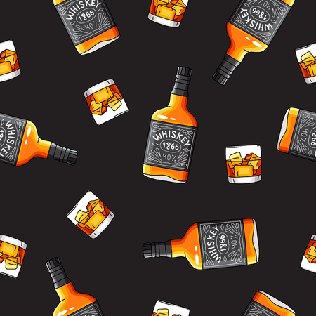 moonshine: Seamless vector pattern of the bottles and glasses of strong alcohol Whiskey on a black background. Illustration