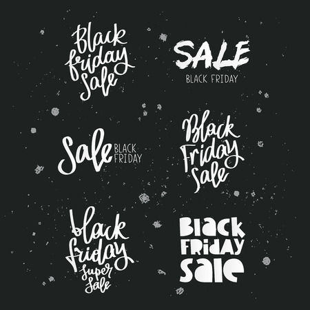 stock market quote: Set quotes on Black Friday.  Trend calligraphy. Vector illustration on a black background.