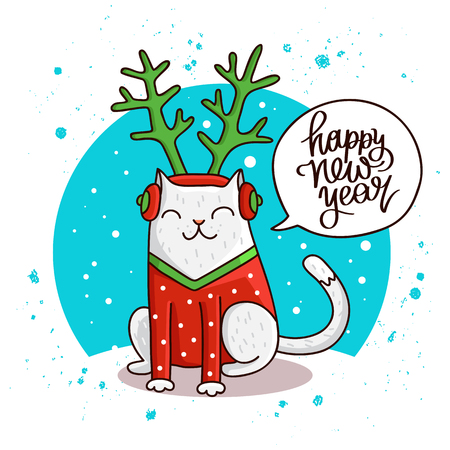 new year cat: Cute and funny cat. Quote Happy New Year. The trend calligraphy. Vector illustration on white background. Great holiday gift card.