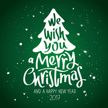 family vacation: Quote We wish you a Merry Christmas and a Happy New Year. The trend calligraphy. Vector illustration on a green background. Great holiday gift card.