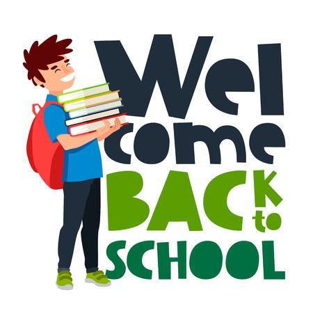 学校に戻って歓迎引用。トレンドの書道。白の背景にベクトル イラスト。教科書を持つ少年。優秀なギフト カード。学校教育のコンセプトです。  イラスト・ベクター素材