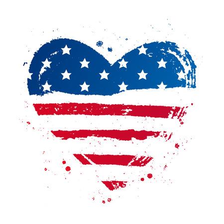 大きなハートの形をしたアメリカの国旗。米国。白の背景にベクトル イラスト。T シャツに優れた印刷性。