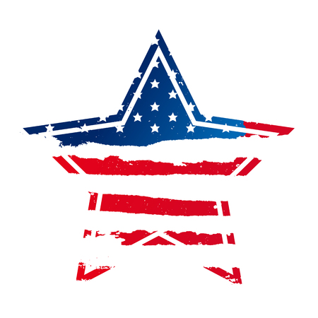 mainland: American flag in the shape of a large star. USA. Vector illustration on white background. Excellent print on a T-shirt.