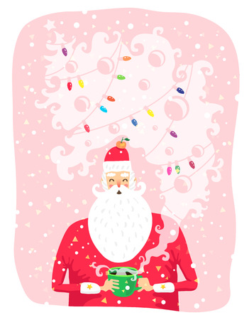 great coffee: Portrait of Santa Claus with a cup of coffee. Vector illustration on a pink background. Great holiday gift card for Christmas and New Year.