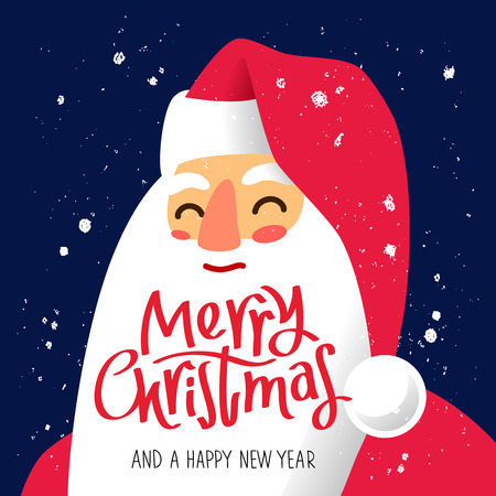 snow man party: Portrait of Santa Claus. Excellent New Years gift card. Vector illustration on a blue background. Quote Merry Christmas and a happy new year. The trend calligraphy. Illustration