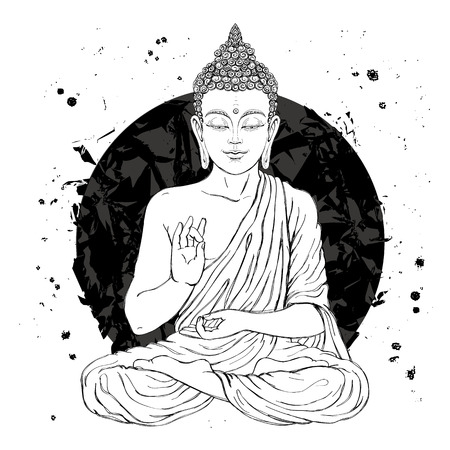 buddha lotus: Seated Buddha in the lotus position. Vector illustration on white background with a smear of ink black. The esoteric concept. The spiritual art. Thai god. Excellent ethnic print on a T-shirt.