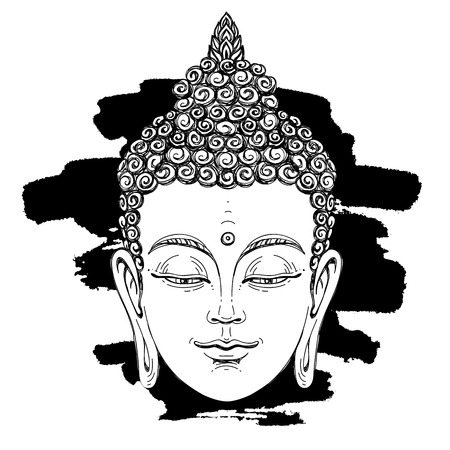 black youth: Portrait of a Buddha. Vector illustration on white background with a smear of ink black. The esoteric concept. The spiritual art. Thai god. Excellent ethnic print on a T-shirt.