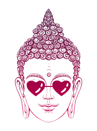 Portrait of a Buddha wearing glasses in the shape of hearts. Vector illustration on white background. The esoteric concept. The spiritual art. Thai god. Excellent ethnic print on a T-shirt. Ilustração