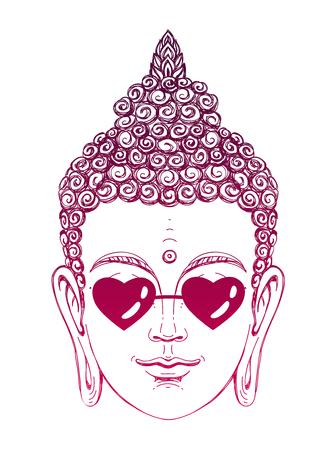 Portret van een Boeddha draagt een bril in de vorm van harten. Vector illustratie op een witte achtergrond. De esoterische concept. De spirituele kunst. Thaise god. Uitstekende etnische print op een T-shirt.