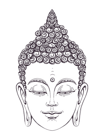 Portrait of a Buddha. Vector illustration on white background. The esoteric concept. The spiritual art. Thai god. Excellent ethnic print on a T-shirt. Illustration