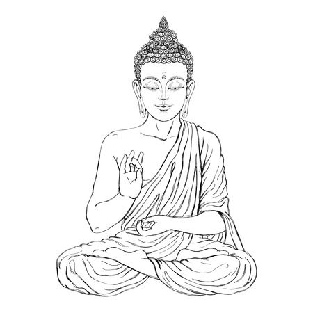 buddha lotus: Seated Buddha in the lotus position. Vector illustration on white background. The esoteric concept. The spiritual art. Thai god. Excellent ethnic print on a T-shirt. Illustration