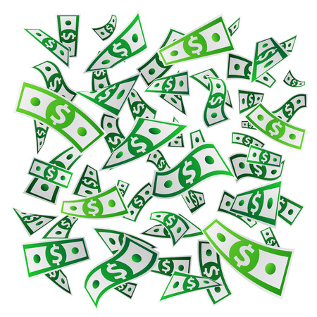 money flying: Money. Flying dollars. Paper banknotes. Vector illustration on white background. Business concept.