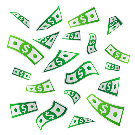 Money. Flying dollars. Paper banknotes. Vector illustration on white background. Business concept.