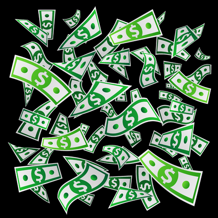dinero volando: Money. Flying dollars. Paper banknotes. Vector illustration on a black background. Business concept. Vectores