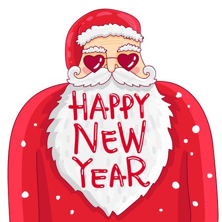 面白いし、かわいいハートの形のガラスのサンタ クロース。幸せな新年を引用します。トレンドの書道。白の背景にベクトル イラスト。偉大なホリ  イラスト・ベクター素材
