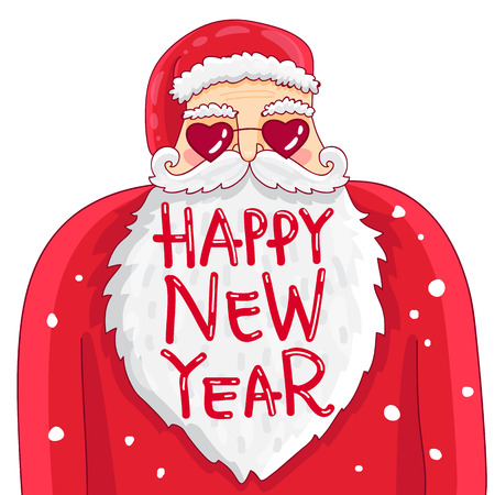 Drôle et mignon Père Noël dans des verres en forme de coeurs. Citation heureuse nouvelle année. Tendance calligraphie. Vector illustration sur fond blanc. Grande carte-cadeau de vacances. Banque d'images - 64043948