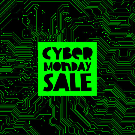 electronic board: Cyber ??Monday Sale. Vector illustration on green circuit electronic board background. Concept sale black friday, shopping and discounts.