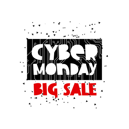 electronic board: Cyber ??Monday Sale. Vector illustration on black circuit electronic board background. Concept sale black friday, shopping and discounts. Illustration