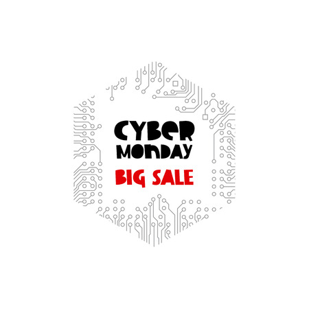 Cyber ??Monday. Big Sale. Vector illustration on circuit electronic board background. Concept sale black friday, shopping and discounts. Illustration
