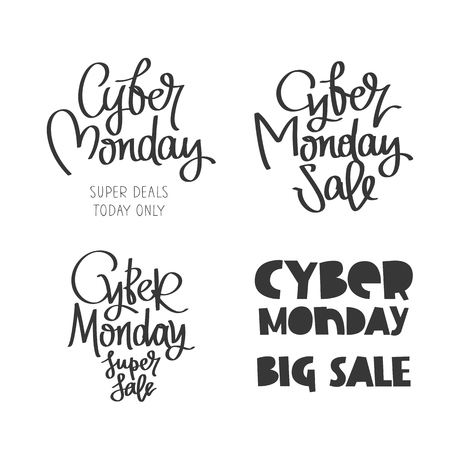 conceived: Set quotes to Cyber ??Monday. Super deal, today only. Big Sale. Trend calligraphy. Vector illustration on white background. Conceived sale black friday, shopping and discounts.