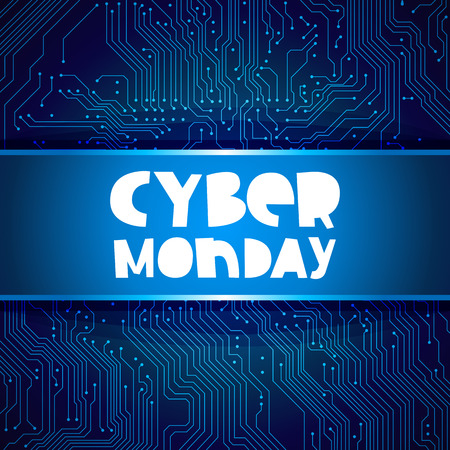 electronic board: Cyber ??Monday. Vector illustration on blue circuit electronic board background. Concept sale black friday, shopping and discounts. Illustration