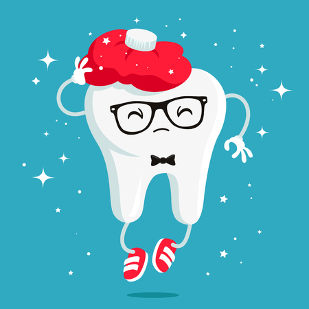 warmer: Sick tooth with a red warmer - hot water bottle on the head. Vector illustration on a blue background. Concept of childrens dentistry. Excellent dental card. Cute character. Caries prevention. Illustration