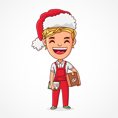 Little funnyl elf in a red cap, red overalls with a box in his hands. Boy - the provider in the Christmas clothes. Deliveryman. Vector illustration on white background. Great holiday gift card.