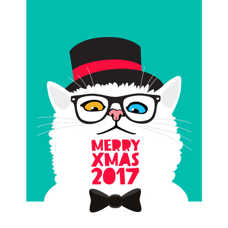 cat's eye glasses: Mr. cat in a black hat. Vector illustration on a blue background. Excellent New Years gift card. Merry Christmas 2017. The trend lettering.