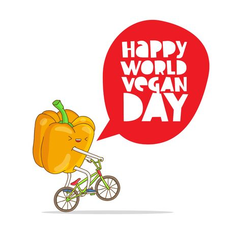 Funny yellow pepper on a bicycle. Inscription happy World Vegetarian Day. The trend calligraphy. Vector illustration on white background. Excellent gift card.