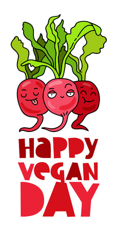 Funny radish. Inscription Happy vegetarian day. The trend calligraphy. Vector illustration on white background. Excellent gift card.